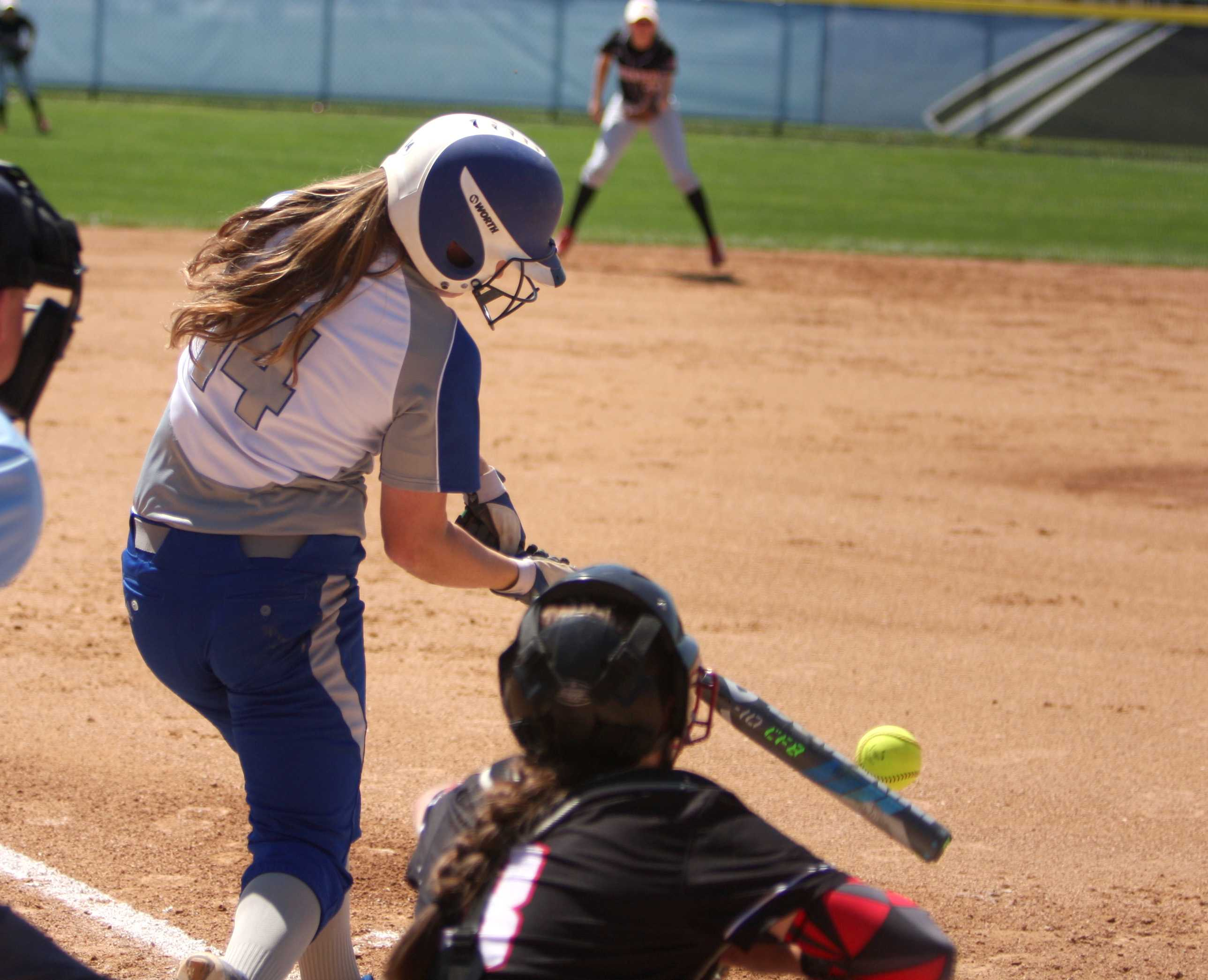 Sophomore Mady Poulter connects with the ball in a game last spring at Williams Field. Poulter hit a 3-run home run in the Panthers win against Savannah State this weekend.