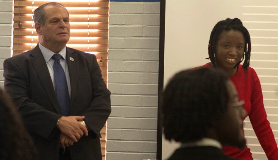 President Glassman and diversity committee member, Samara Abdoulaye Pedila discussed issues affecting minority groups on campus of Eastern Saturday in the Charleston/Mattoon room of the Martin Luther King Jr. University Union.