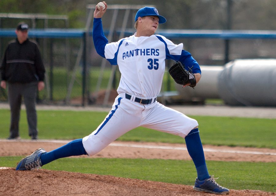 Senior+Alex+Cain+delivers+a+pitch+Tuesday%2C+April+11+against+Illinois+Springfield+at+Coaches+Stadium.+Cain+will+make+his+third+start+of+the+season+today+at+Butler.+The+right+hander+has+appeared+in+11+games+and+sports+a+5.73+ERA+with+133+BBs+and+12+SOs.