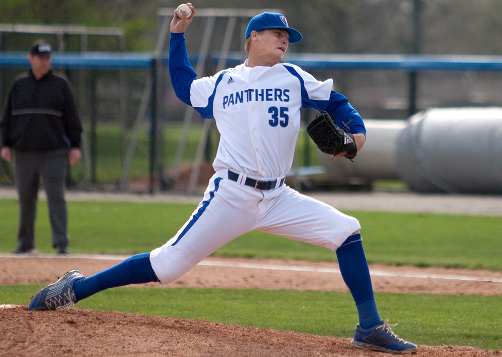 Senior Alex Cain delivers a pitch Tuesday, April 11 against Illinois Springfield at Coaches Stadium. Cain will make his third start of the season today at Butler. The right hander has appeared in 11 games and sports a 5.73 ERA with 133 BBs and 12 SOs.