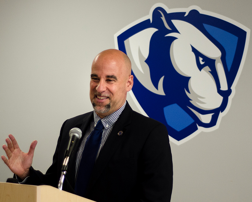 Newly+introduced+women%27s+basketball+coach+Matt+Bollant+addresses+a+crowd+of+Panther+supports+and+members+of+the+media+Monday+afternoon+in+Lantz+Arena.