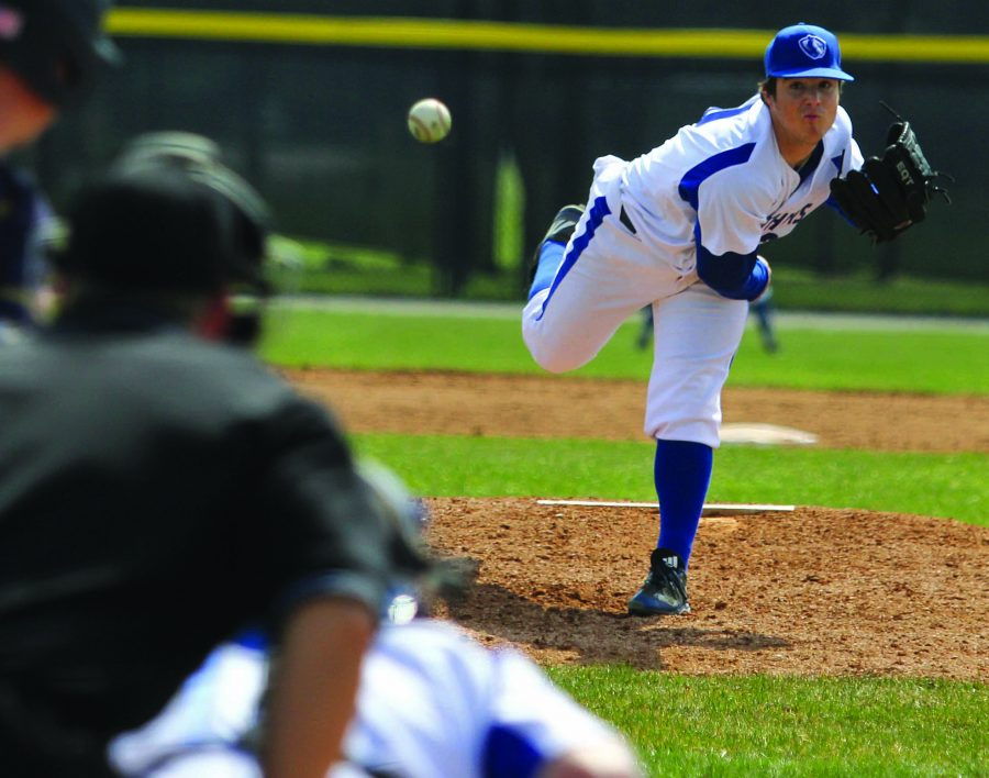 Justin Brown   The Daily Eastern News Junior Devin Rose delivers a pitch Friday, March 24 at Coaches Stadium. Rose (1-0) picked up his first win of the season Wednesday striking out five Lindenwood-Bellevill batters over five innings of work.