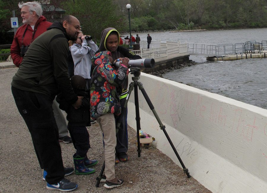 Charleston resident Jasmine Jones and his children Caleb, 4, and Isaiah, 10, look at a cormorant on Lake Charleston, while his daughter Joy, 7, gets a closer look through a spotting scope.
