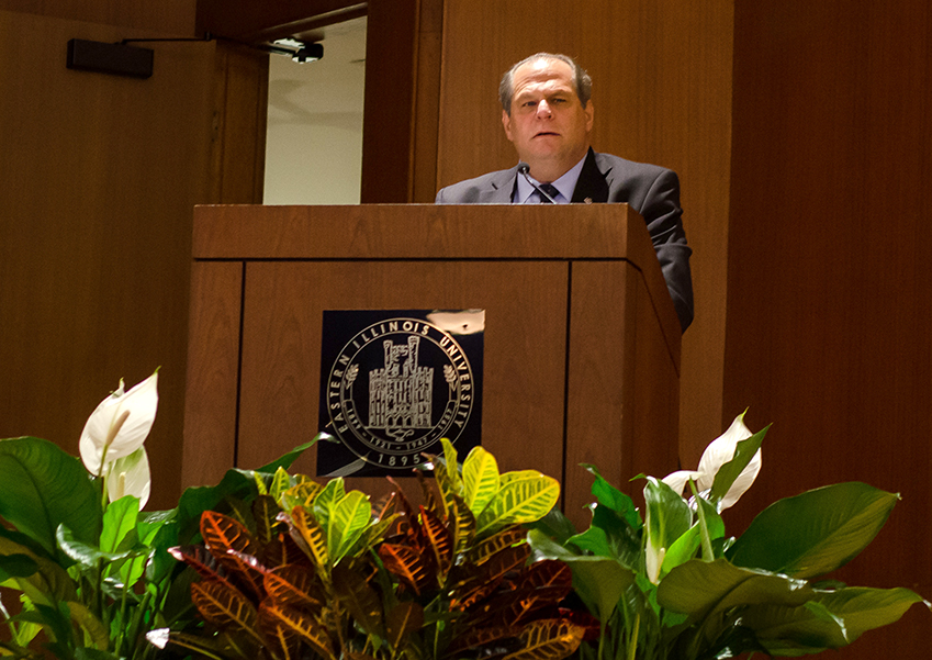 Eastern President David Glassman welcomes those in attendence to the memorial service for Byron Edingburg Wednesday in the Grand Ballroom of the Martin Luther King Jr. Union.
