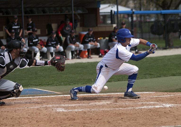 Sophomore Jimmy Govern attempts a bunt during the Panthers' game against Southeast Missouri Sunday.