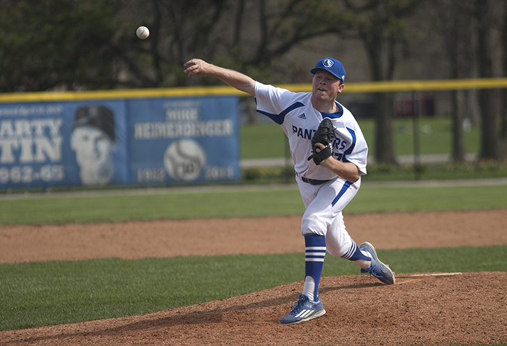 Junior Michael Starcevich pitches during the 9th inning Sunday. Starcevich took the loss after allowing two runs in three innings pitched.