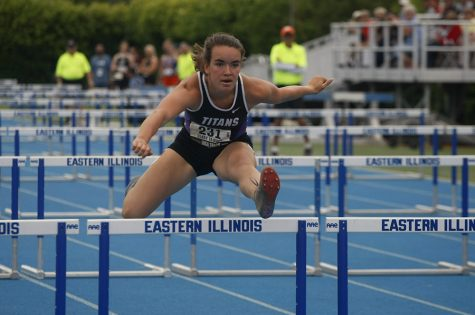 Gracie Feeney, a senior from El Paso High school, competed in class 1A for the 300 meter low hurdles race during the final round of the IHSA Girls Track Meet. She placed third with a time of 45.79.