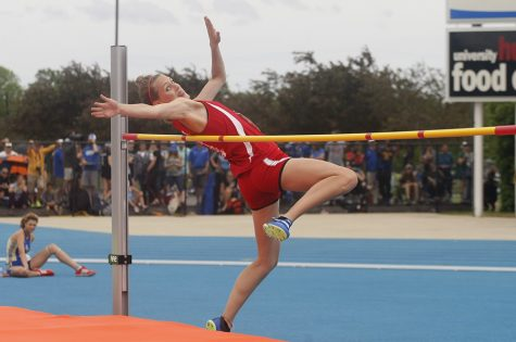 Katie Mans, a junior from Alton High School, competed in class 3A for the high jump during the IHSA Girls' Track Meet and placed third clearing a height of 5 feet 5 inches.