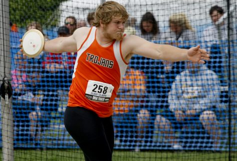 Jackson Harkness, a senior from Elmwood (COOP) High School, competes in the class 1A discus throw Thursday during the preliminary rounds of the IHSA boys track meet at O'Brien Stadium.