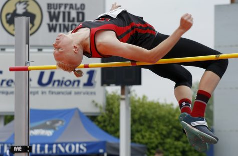 Christian Groenewold, a junior from Forreston (COOP) High School, competes in the class 1A high jump event Thursday during the preliminary rounds of the IHSA boys track meet at O'Brien Stadium.