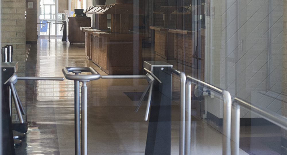 Though the dining centers are closed, here is an example of the turnstiles in the Thomas dining center.
