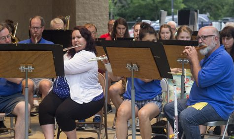 Members of the Charleston Community Band play another tune during the weekly concert on Thursday at Kiwanis Park.