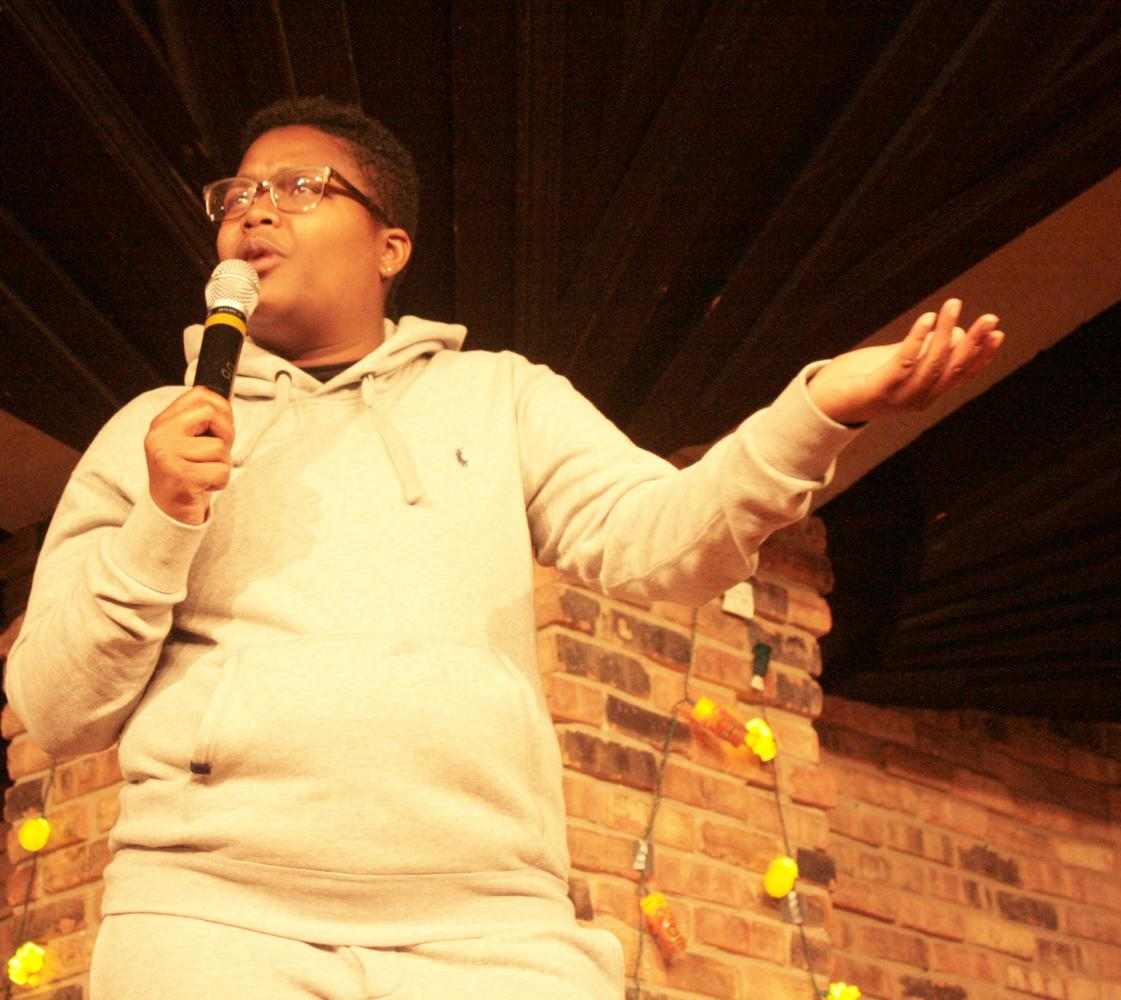 Comedian Sam Jay performs as part of the first University Board comedy show of the year in the 7th Street Underground of the Martin Luther King Jr. University Union.