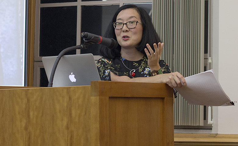 "English professor Suzie Asha Park  gives the keynote presentation ""The Boy Who Lived: Harry Potter and the Culture of Death"" at the opening reception for ""Twenty Years of Harry Potter: Celebrating a Phenomenon."" Park said she first became acquainted with the Harry Potter books five years ago."