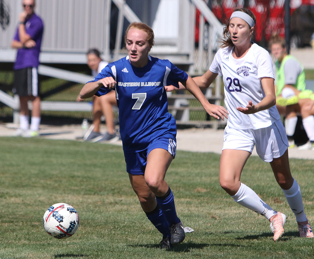 Eastern freshman Caitlin Hawley runs away from Western defender Alexandra Siavelis during a game at Lakeside Field on September 10. The Panther beat the Leathernecks 2-1 in the contest.