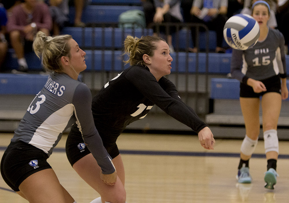 Redshirt sophomore Anne Hughes digs the ball in the Panthers' 3-1 loss to Southern Illinois Edwardsville Wednesday night in Lantz Arena. She had 20 digs in the match.