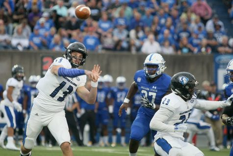 Redshirt senior quarterback Mitch Kimble throws a pass in the Panthers' 22-20 win over Indiana State in the season opener. The Panthers host Souteast Missouri for their first OVC game of the season.