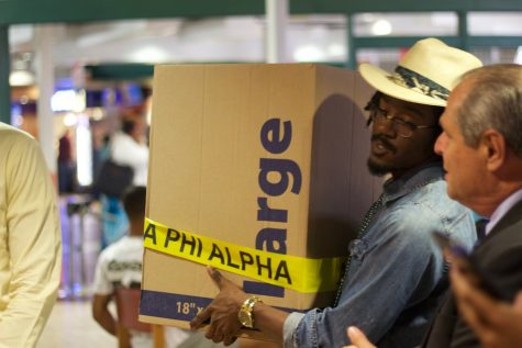 Jerome Hampton, a member of Alpha Phi Alpha, explains the importance of the drive and expresses the need of donations.
