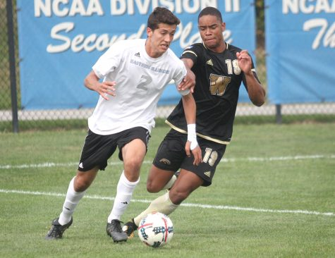 Sophomore Edgar Mesa tries to move by a Western Michigan defender Friday at Lakeside Field. The Panthers had their third-straight draw in Friday's match.