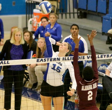 Laurel Bailey goes up for a kill against Alabama A&M on Friday at Lantz Arena. The Panthers won the match 3-0.