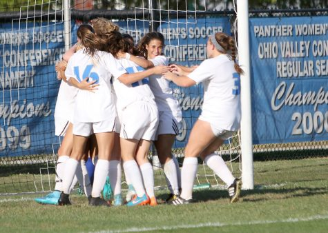 The women's soccer team celebrates a goal in the Panthers' 3-2 double OT win over Fort Wayne Sept. 8. Eastern has its OVC opener at home Sunday afternoon.