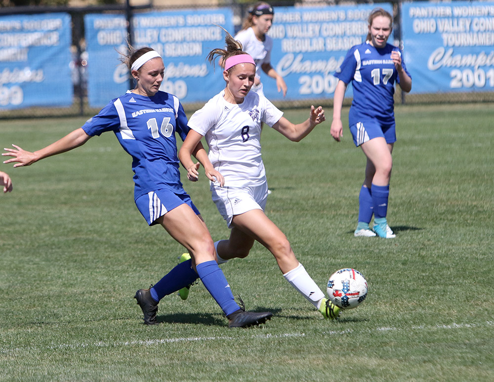 Junior Kayla Stolfa makes a pass to her teammate in the Panthers' 2-1 win over Western Illinois Sept. 10 at Lakeside Field. The Panthers have lost four games in a row.