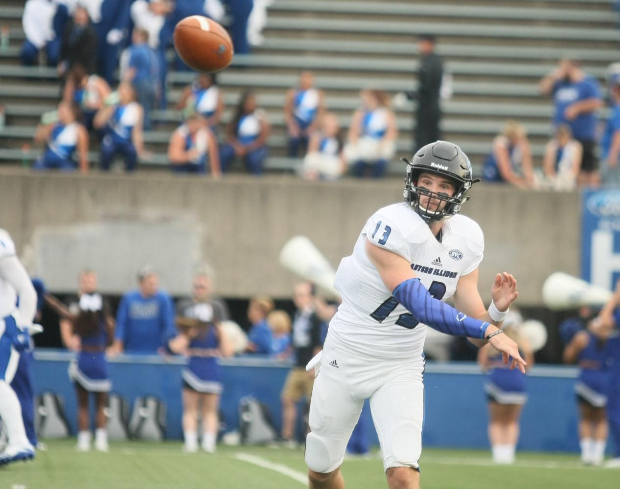 Eastern quarterback Mitch Kimble fires a pass August 31st at Memorial Stadium in Terre Haute, Indiana. Kimble threw a game-winning touchdown pass to lead the Panthers over Indiana State 22-20.
