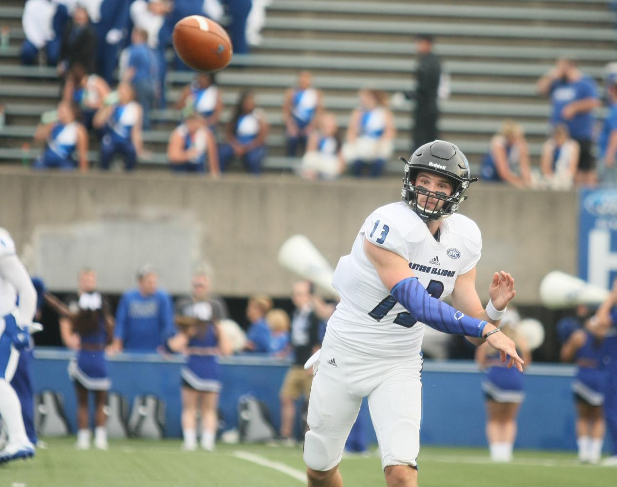 Eastern quarterback Mitch Kimble fires a pass August 31 at Memorial Stadium in Terre Haute, Ind. Kimble threw a game-winning touchdown pass to lead the Panthers over Indiana State 22-20.