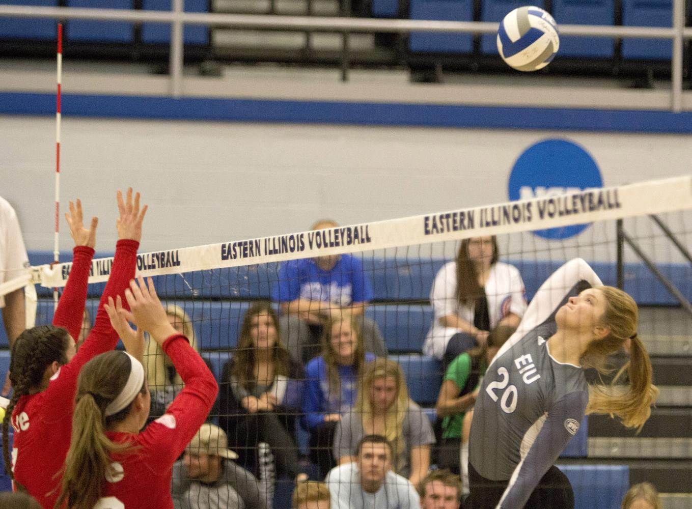 Sophomore outside hitter Katie Sommer spikes the ball Wednesday against Southern Illinois-Edwardsville.