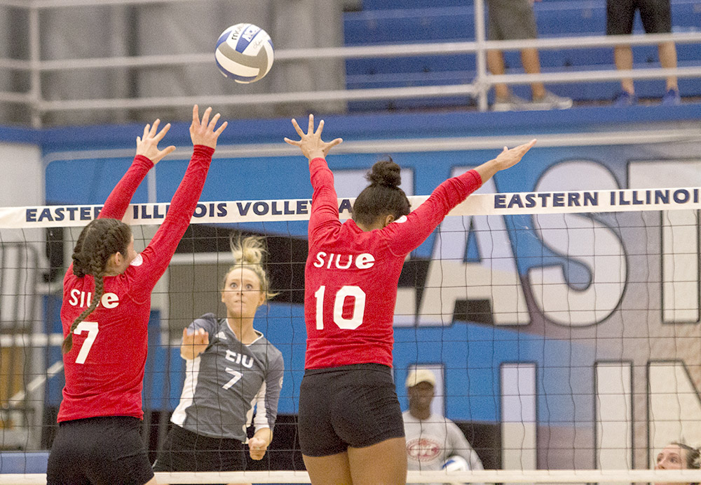 Junior setter Taylor Smith launches the ball over the net Wednesday against Southern Illinois-Edwardsville.