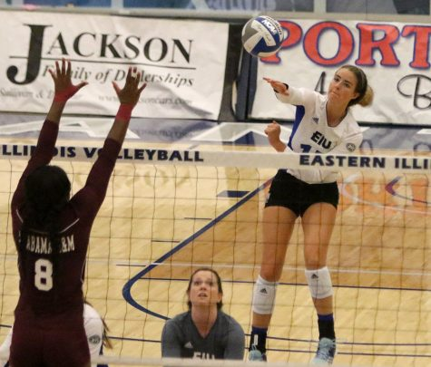 Freshman Laurel Bailey goes up for a kill in the Panthers' 3-0 win over Alabama A&M Sept. 8 in Lantz Arena. Eastern is still looking for its first OVC win.