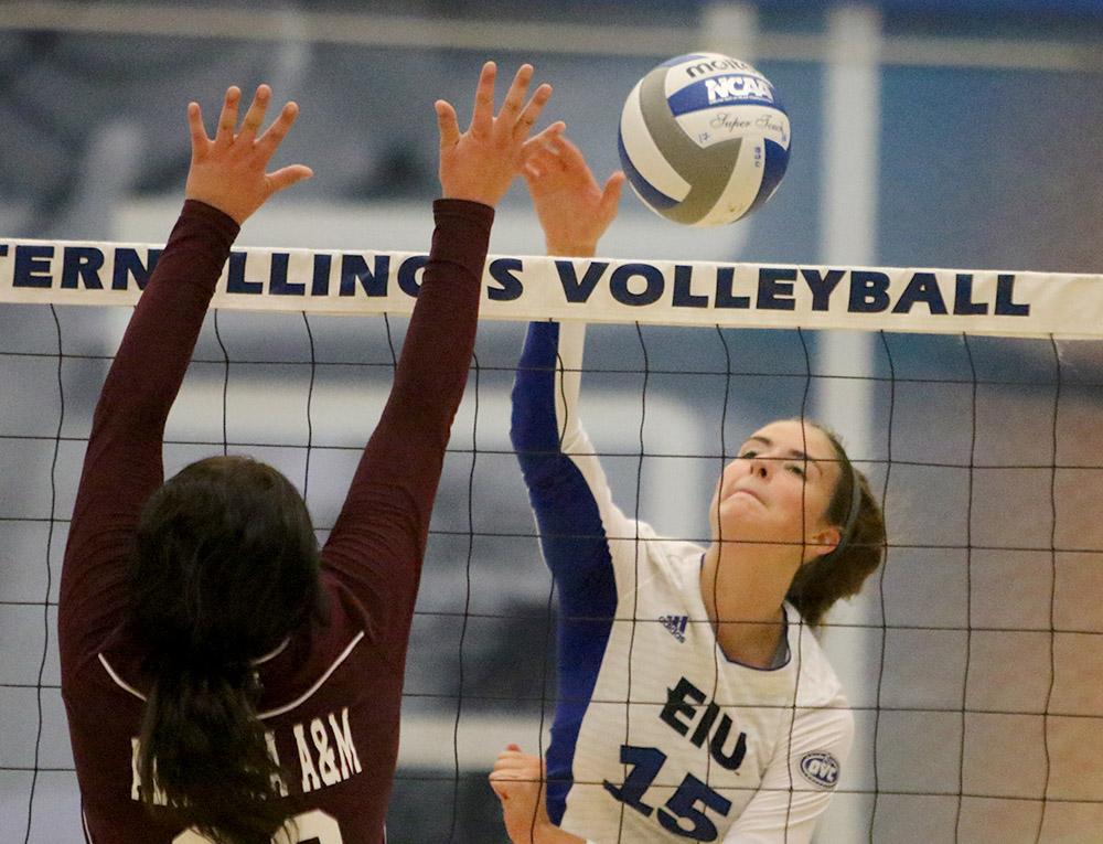Freshman Laurel Bailey kills the ball in the Panthers 3-0 win over Alabama A&M Sept. 8 in Lantz Arena. Eastern lost both of its OVC matches this weekend on the road.
