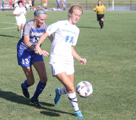 Senior Madi Fisher dribbles past a Fort Wayne player in the Panthers' 3-2 double overtime win Sept. 8 at Lakeside Field. Eastern continues OVC play this weekend.