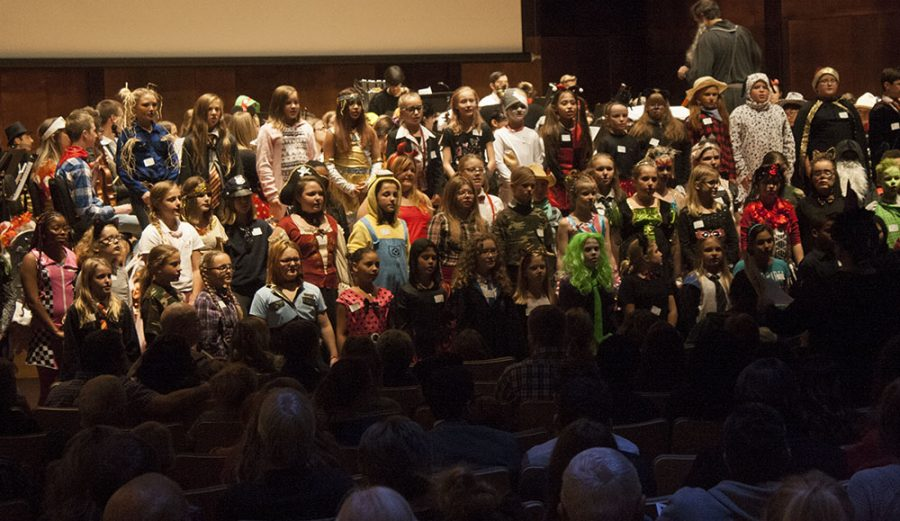 Students from the Jefferson Elementary School Chorus sing at Fright Night Sunday in the Doudna Fine Arts Center.