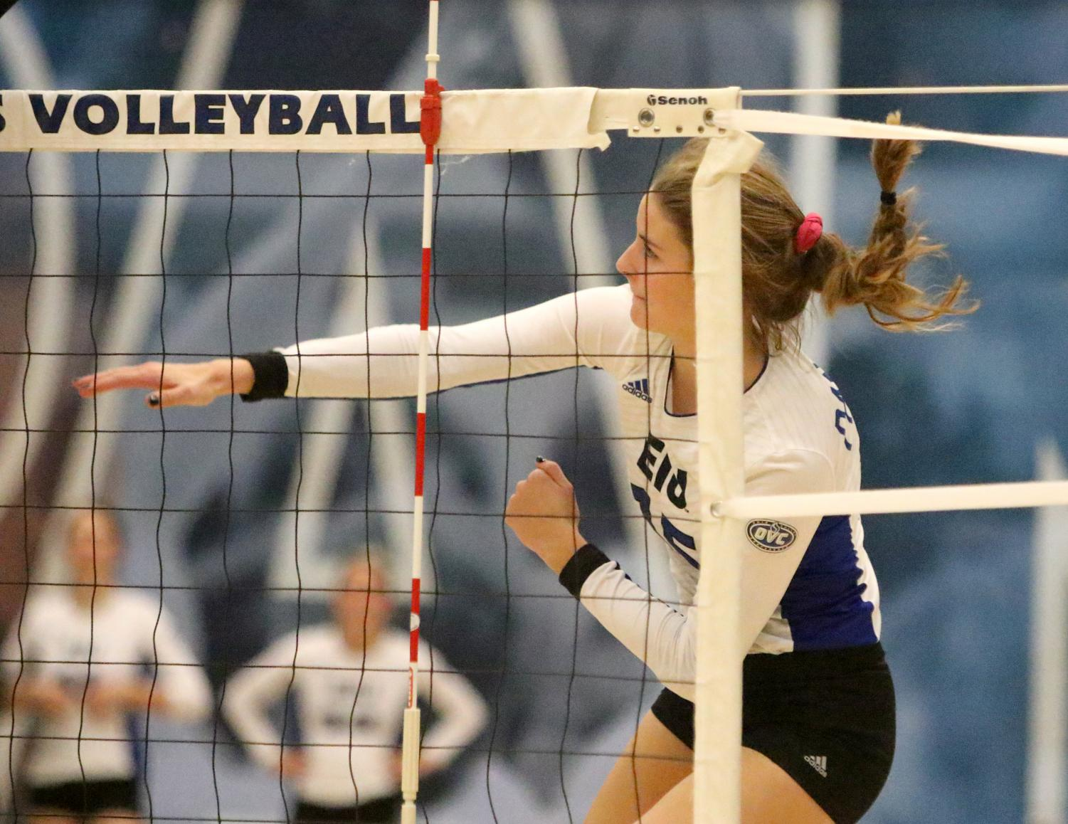 Freshman outside hitter Laurel Bailey delivers a spike against Austin Peay Friday. Bailey tallied six kills in the match.