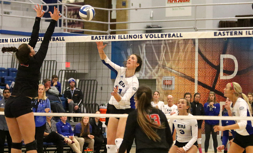 Middle Abby Knight spikes the ball during Friday's match against Austin Peay. Knight had five kills on the day.