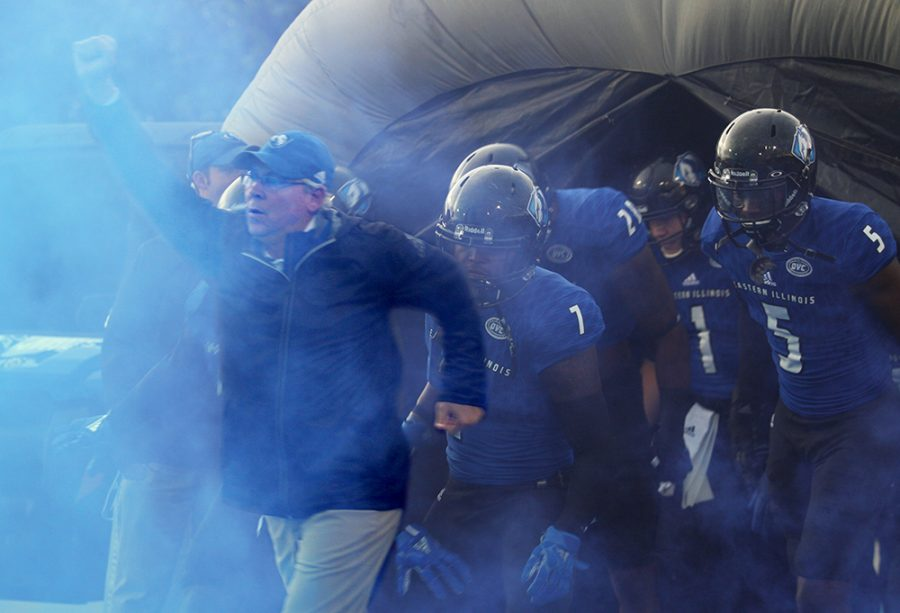 Eastern+football+coach+Kim+Dameron+leads+the+Panthers+out+of+the+tunnel+prior+to+their+game+with+Tennessee+Tech.+Eastern+won+24-23.