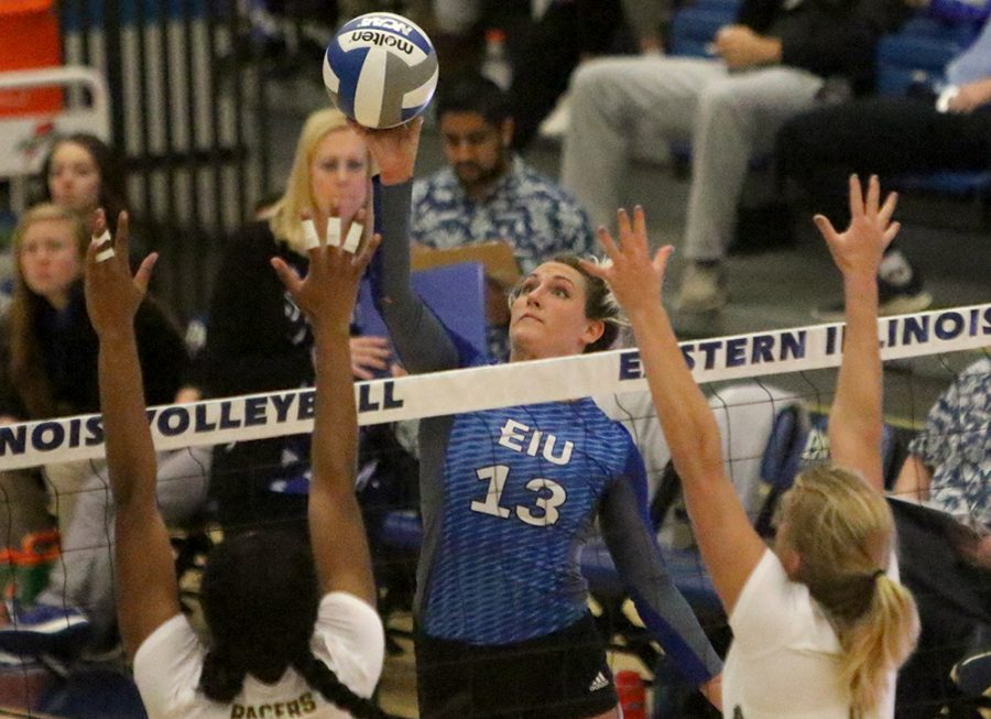 Maria Brown goes up for a kill against Murray State Saturday afternoon at Lantz Arena. Brown finished with 10 kill in the Panthers 3-1 loss that day. Brown was one of three seniors that were honored before the match on senoir day.