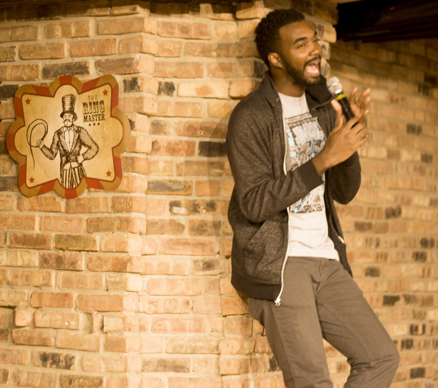 Comedian Lafayette Wright entertains a crowd Thursday night at the 7th Street Underground in the Martin Luther King Jr. University Union. Wright said this is his first time here and would gladly come back. Wright also said that this was one of the better crowds he has seen.
