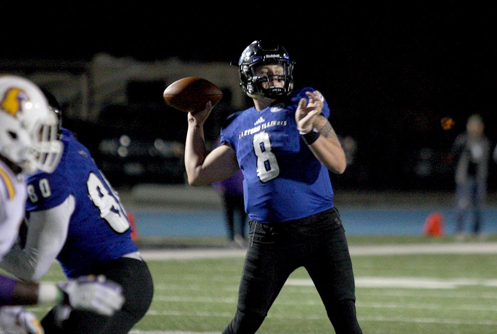 Redshirt junior quarterback Bud Martin throws a 10-yard fade touchdown pass to junior Alexander Hollins. Martin played the second half and threw three touchdown passes, all to Hollins.