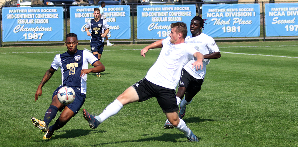 The Daily Eastern News Brendan McDonough attempts to block the ball from advancing upfield. The Panthers won in double overtime 1-0 against Oral Roberts Saturday afternoon at Lakeside Field.
