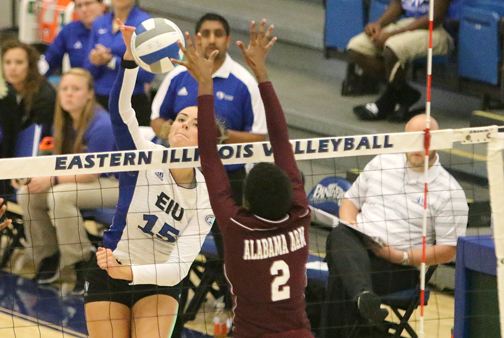 Freshman Laurel Bailey goes up for the kill against Alabama A&M where the Panthers won 3-0 in Lantz Arena. Bailey is second on the team in kills for the season.