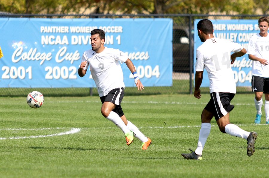 Fabio Collado chases down the ball in the Panthers' 1-0 overtime win over Oral Roberts Oct. 14 at Lakeside Field. Eastern has three games left this season and one Summit League game and has a chance to make the tournament.