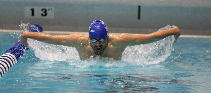 Senior+Patrick+Wood+swims+the+men%E2%80%99s+200-yard+butterfly+Saturday+at+the+Padovan+Pool.+Wood+finished+with+a+time+of+57.86.+Eastern%E2%80%99s+men%E2%80%99s+team+beat+Western.