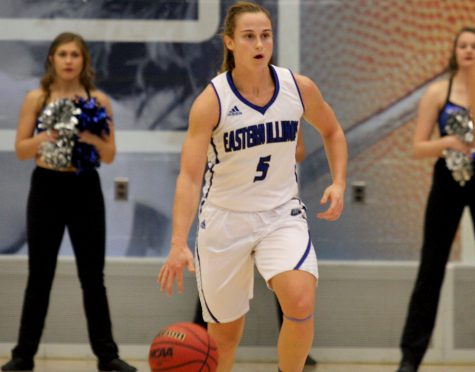Senior Grace Lennox brings the ball up the court in the Panthers' 97-54 win over Millikin Nov. 2016 in Lantz Arena. Eastern hosts Indiana State Friday.