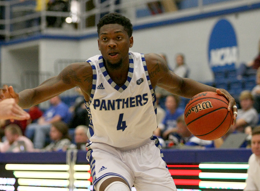 Senior Montell Goodwin drives to the basket in the Panthers' 94-58 win in Lantz Arena Nov. 2016. Eastern hosts Illinois Friday night.