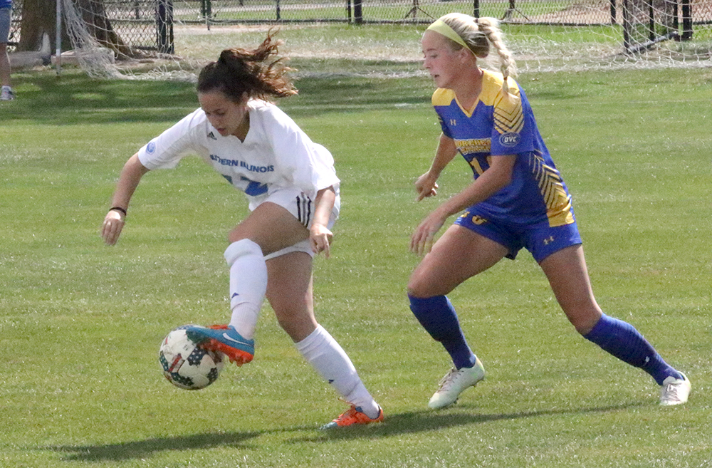 Itxaso Aguero dribbles away from a Morehead State defender in the Panthers' 3-1 loss. Eastern plays its final game of the season Thursday at Murray State.