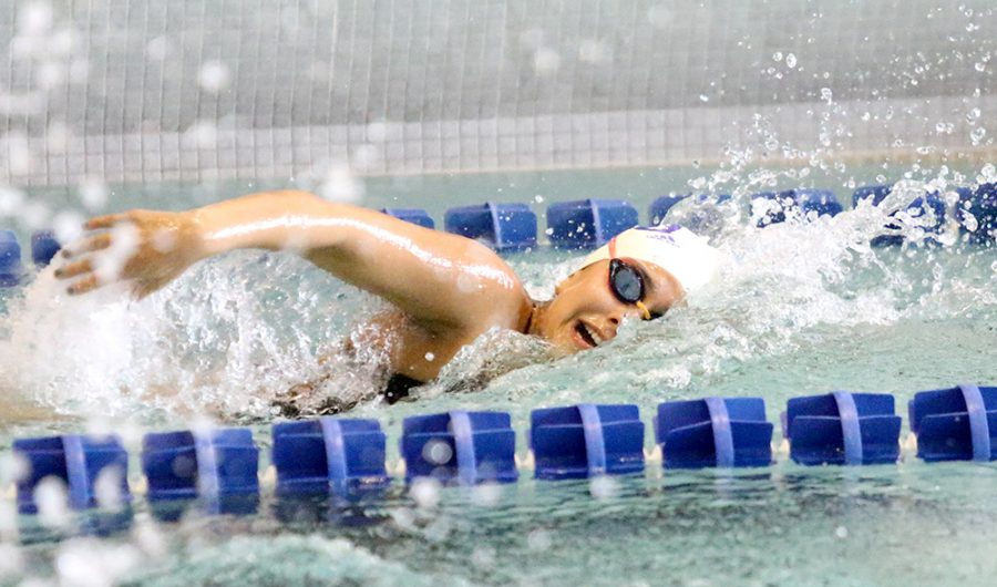Freshman+Gloria+Gonzales+swims+the+women%E2%80%99s+200-yard+freestyle+in+the+Panthers+meet+against+Lewis+Oct.+13+at+the+Padovan+Pool.+Gonzales+came+in+fourth+with+a+2%3A06.29+finish.