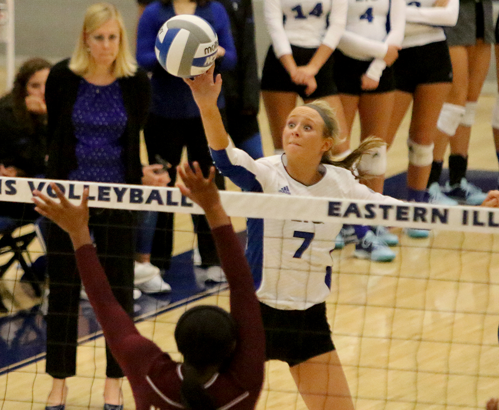 Junior Taylor Smith tips the ball over the net in the Panthers' 3-0 win over Alabama A&M Sept. 7 in Lantz Arena. Smith leads the NCAA in triple doubles.