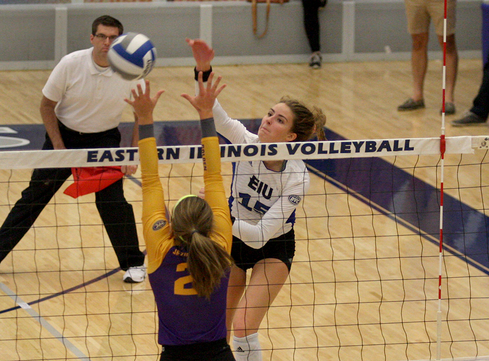 Freshman Laurel Bailey kills the ball against Tennessee Tech Oct. 20 in Lantz Arena. Bailey was named player of the week. Eastern hosts its final home games this weekend.